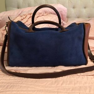 Madewell Camden satchel in Saratoga blue Suede